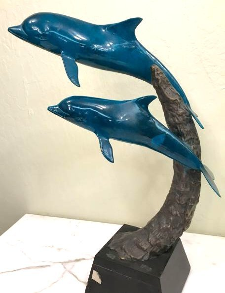 Multi-Patinated Bronze Statue of a Dolphin