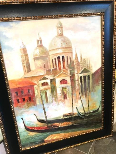 Oil on Canvas Painting of Venetian Scene w/ Gondolas