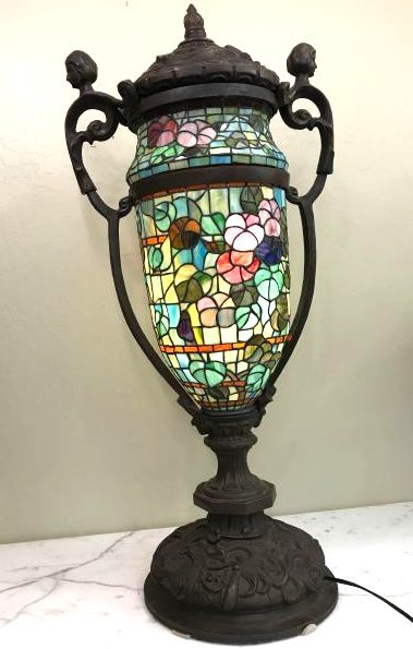 Unique Tiffany Style Stained Glass, Bronze Lamp