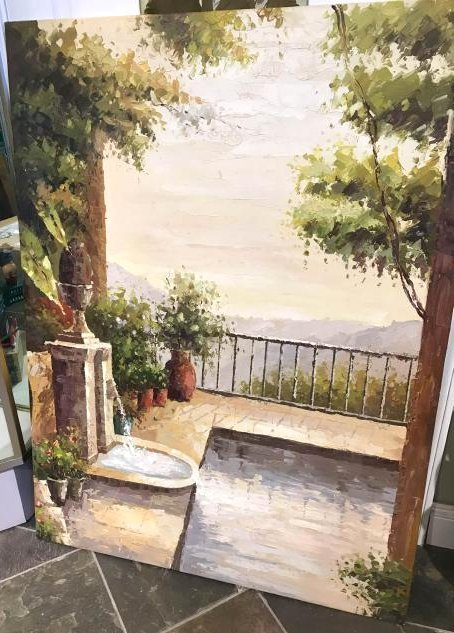 Oil on Canvas Painting of Balcony Scene w/ Fountain