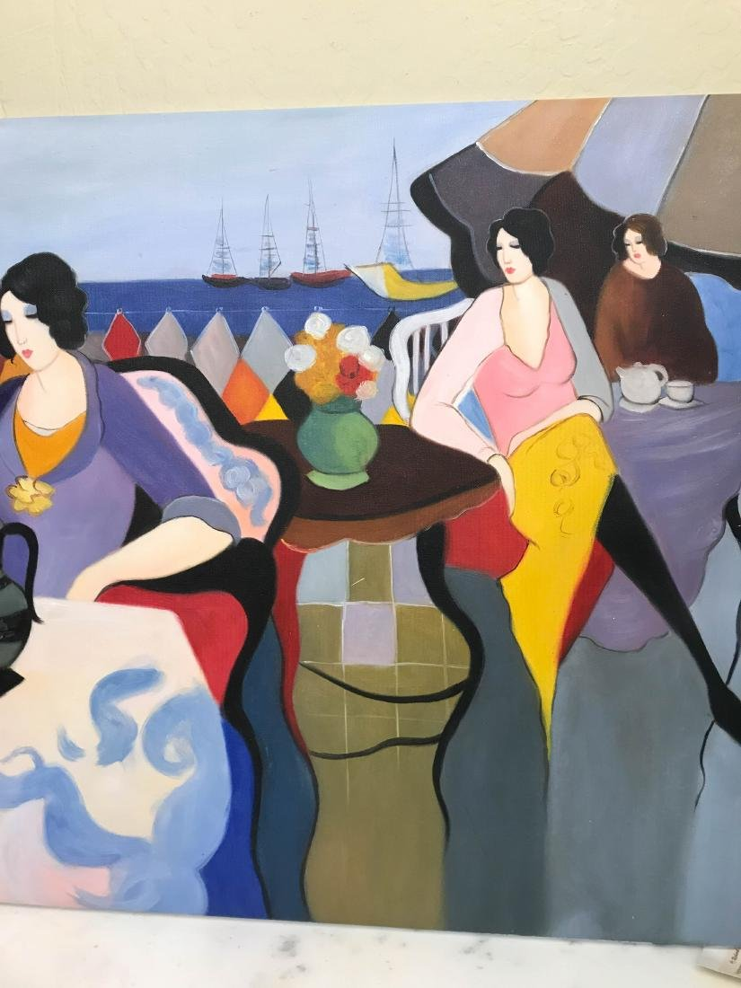 Oil on Canvas Painting of Women Sitting Outside - 2