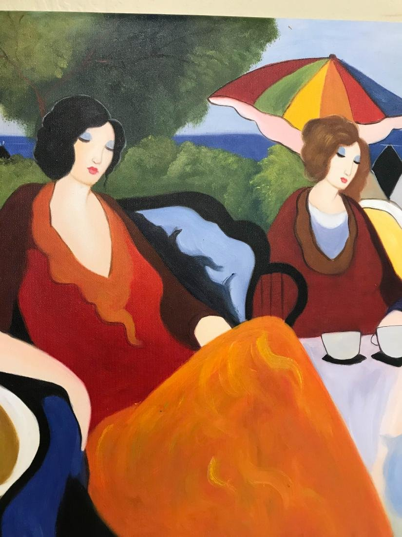 Oil on Canvas Painting of Women Sitting Outside - 4