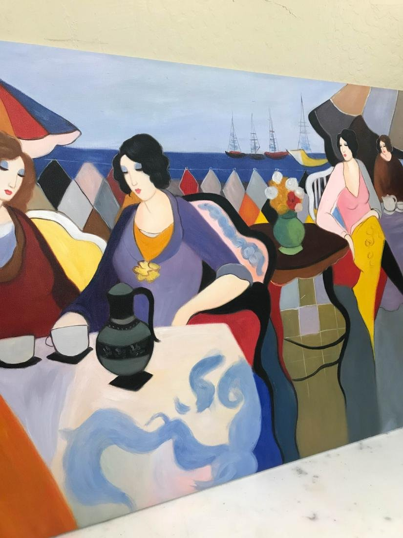 Oil on Canvas Painting of Women Sitting Outside - 5