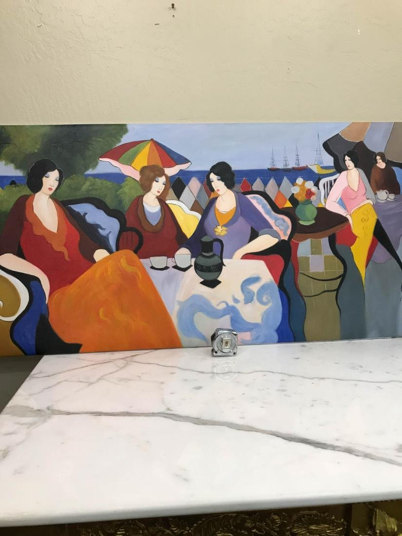 Oil on Canvas Painting of Women Sitting Outside - 6