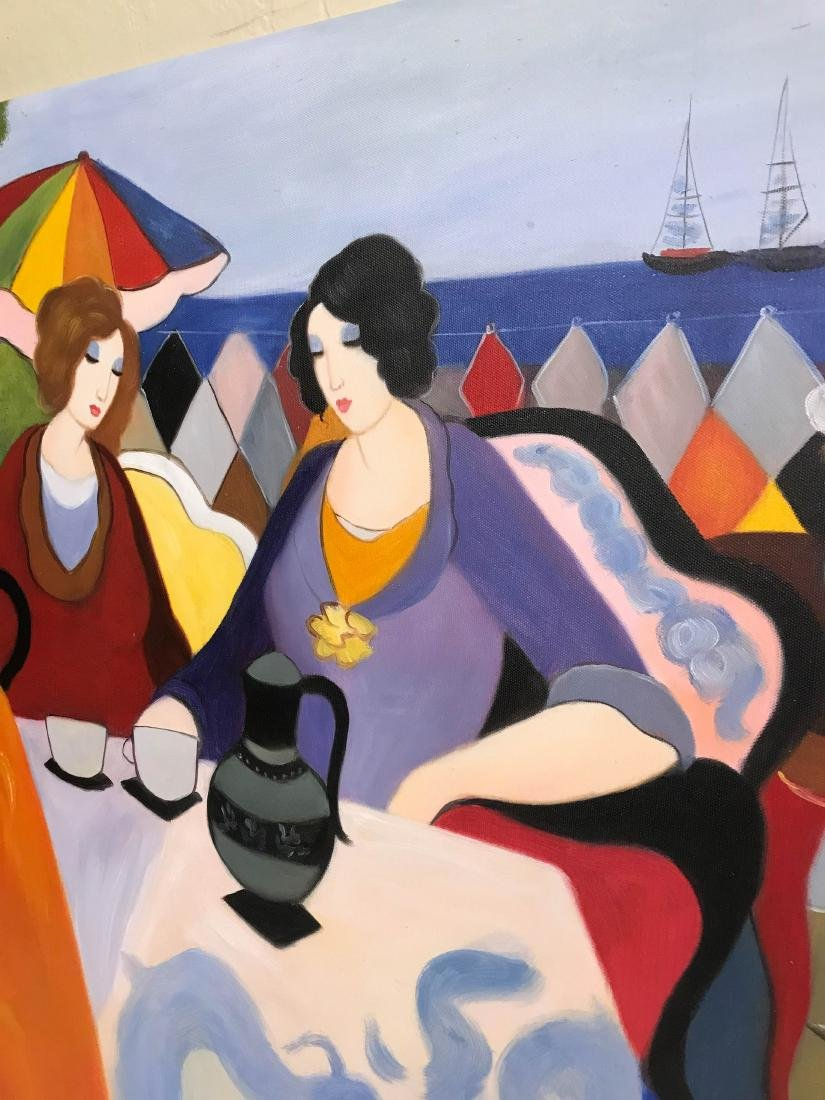 Oil on Canvas Painting of Women Sitting Outside - 7