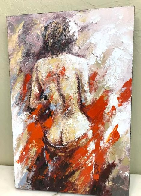 Abstract Oil on Canvas of Nude Woman