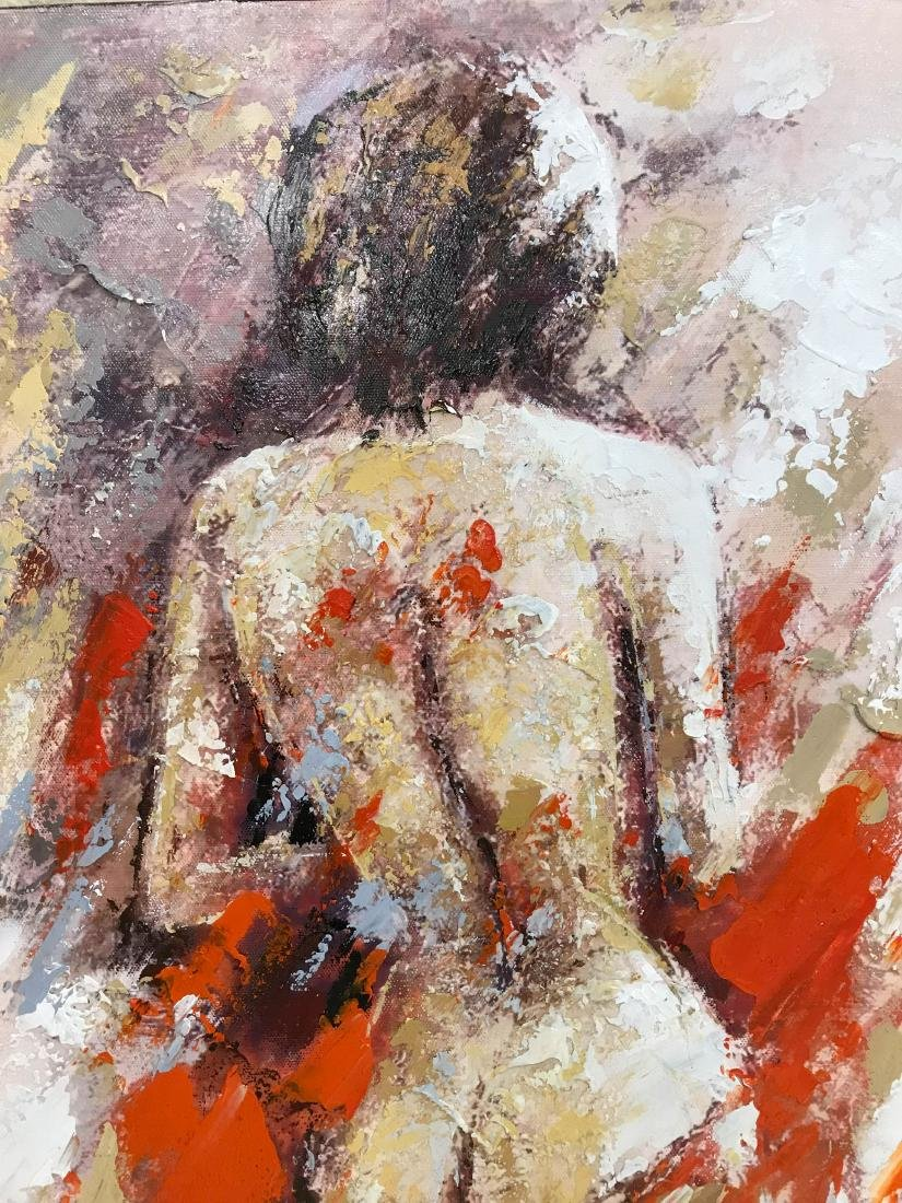 Abstract Oil on Canvas of Nude Woman - 2
