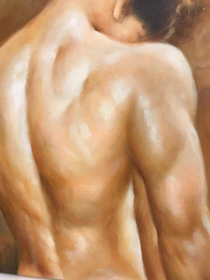 Oil on Canvas of Nude Man, Unframed - 3