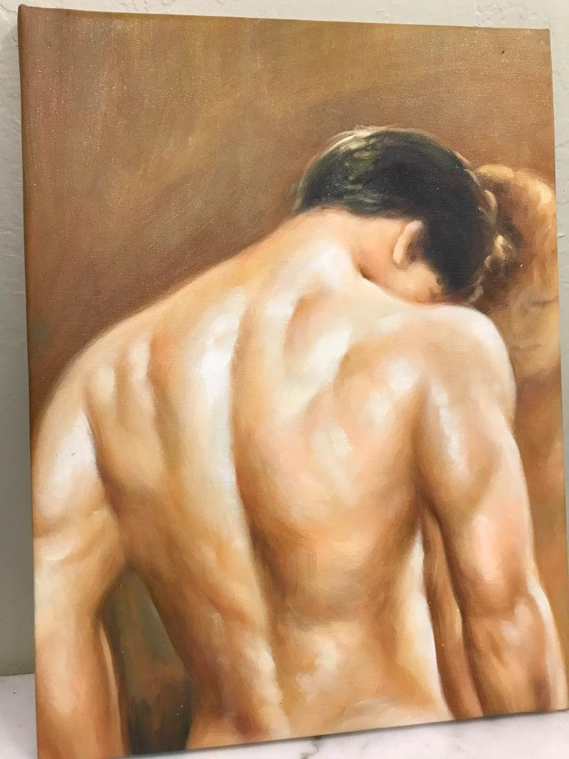 Oil on Canvas of Nude Man, Unframed - 5