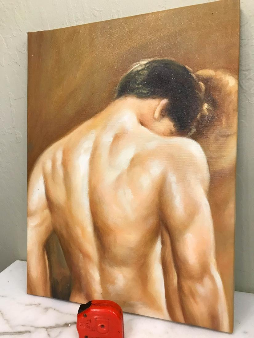 Oil on Canvas of Nude Man, Unframed - 6