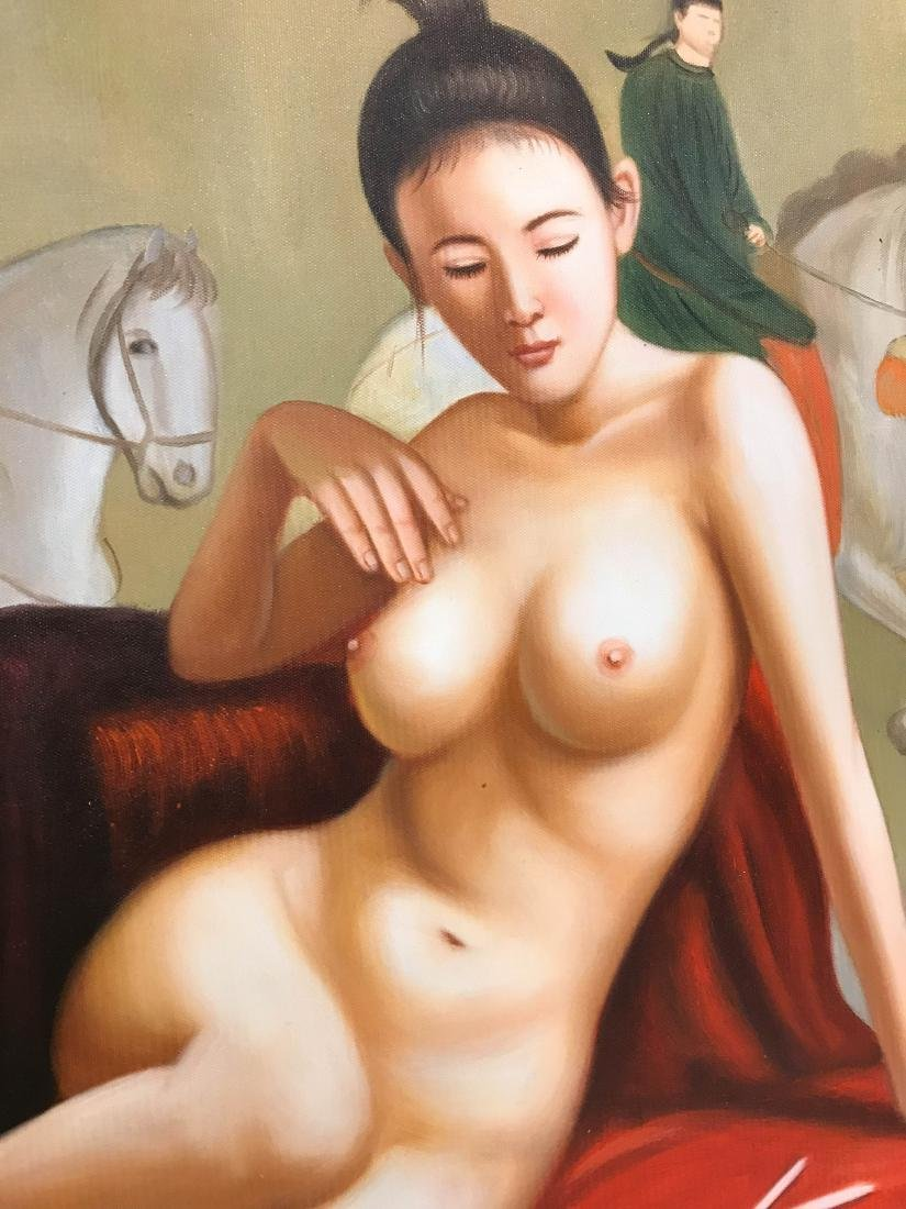 Oil on Canvas Painting of Nude Chinese Beauty - 7