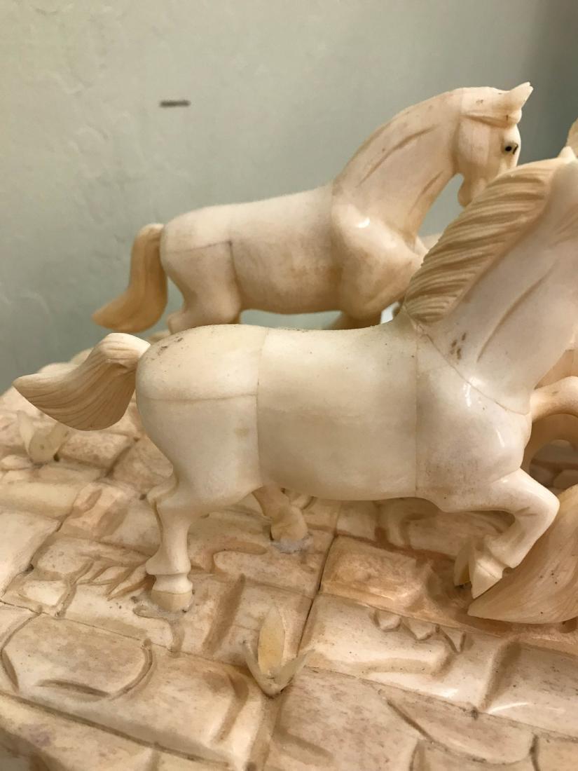 Carved Bone Statue of Stampede of Horses - 10