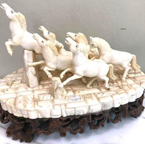 Carved Bone Statue of Stampede of Horses