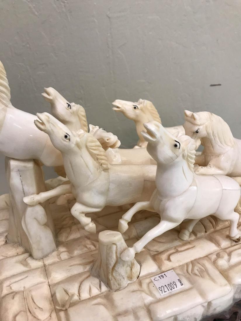 Carved Bone Statue of Stampede of Horses - 2
