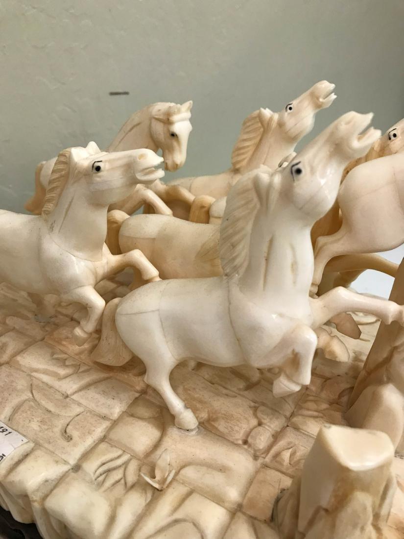 Carved Bone Statue of Stampede of Horses - 9