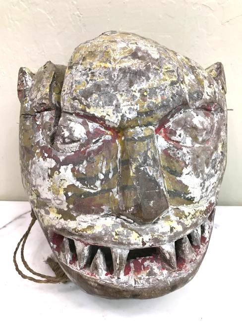 Unique Carved Wood Tiger Mask from Nepal
