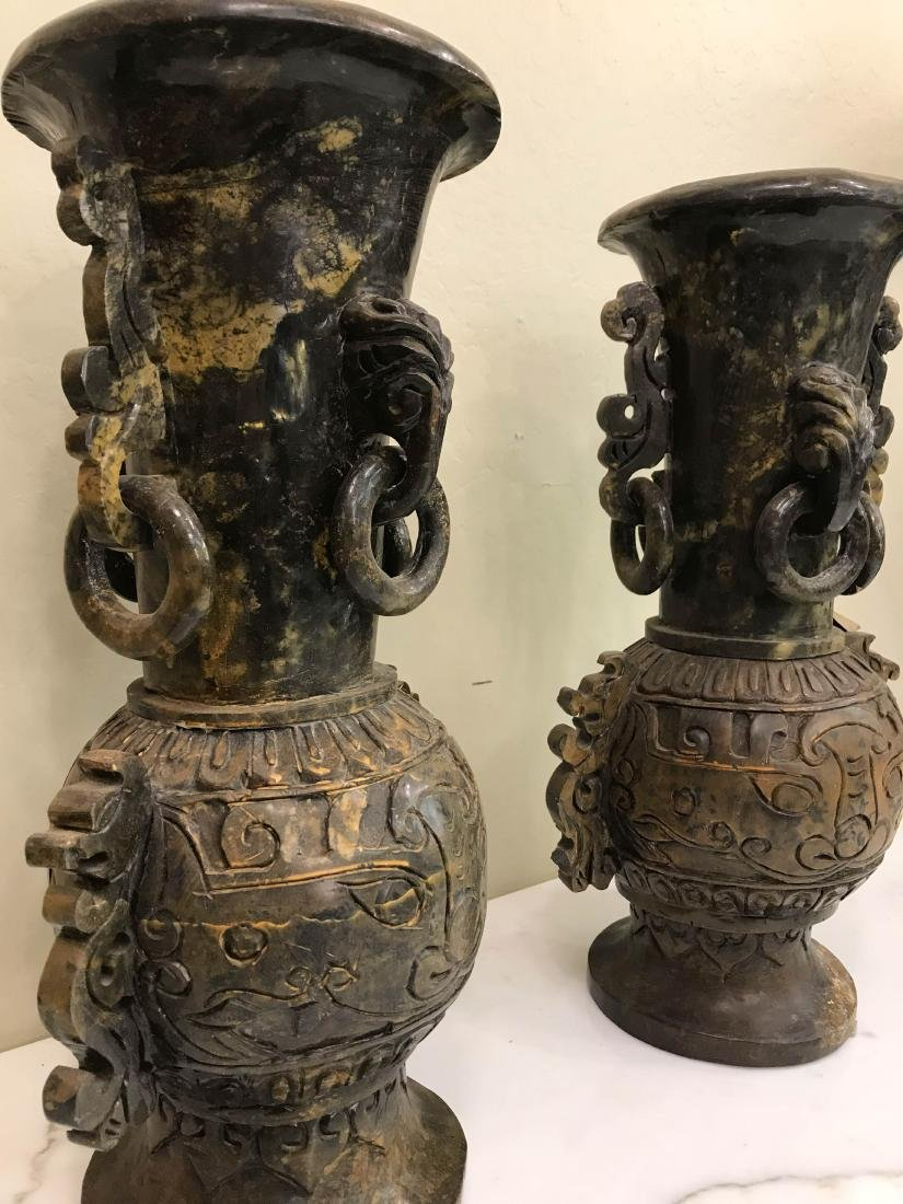 Pair of Carved Jade Vases with Exceptional Details - 5