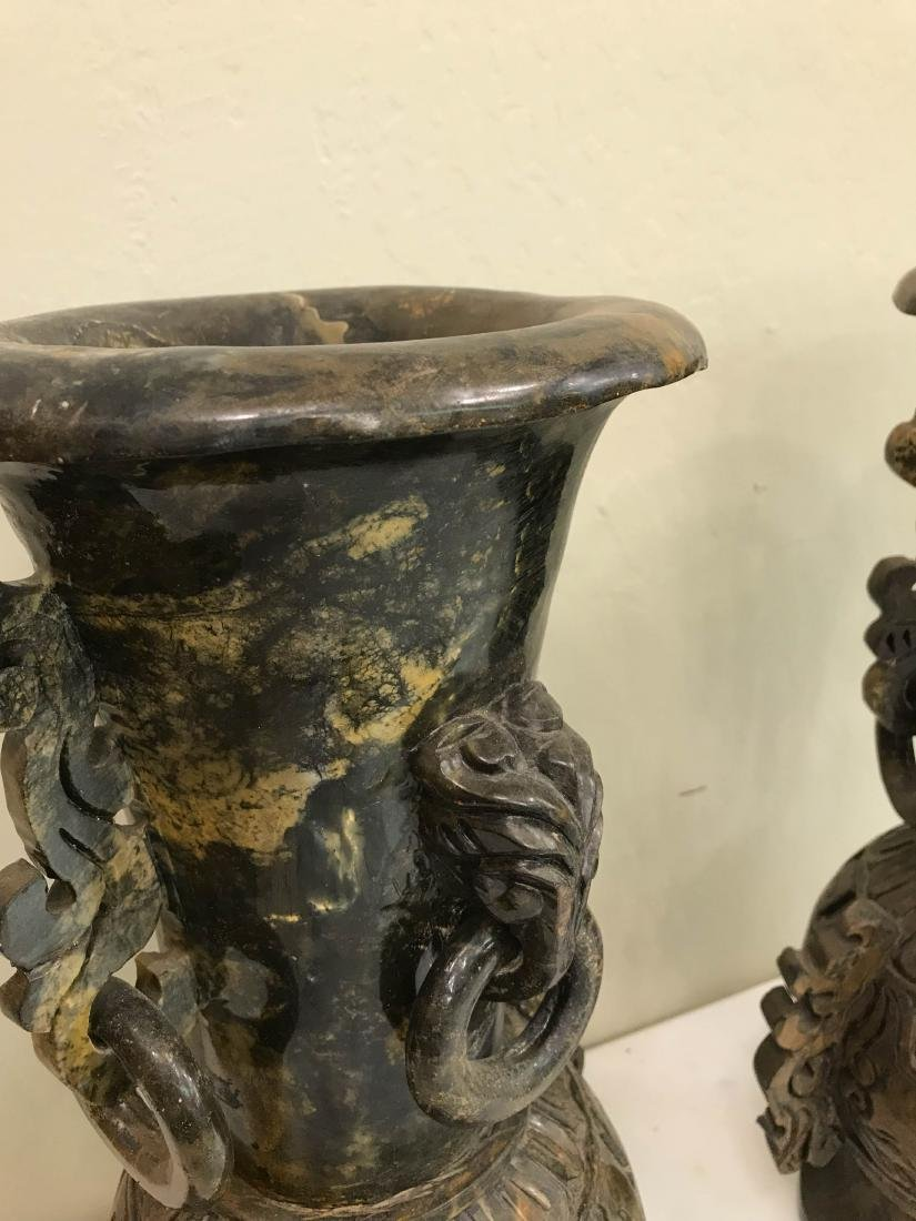 Pair of Carved Jade Vases with Exceptional Details - 7