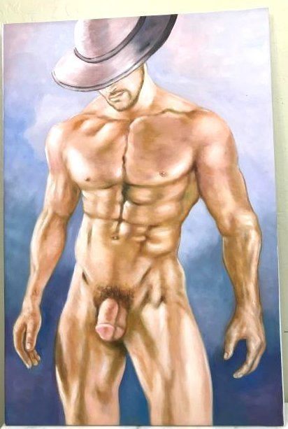 Oil on Canvas of Nude Man with Hat