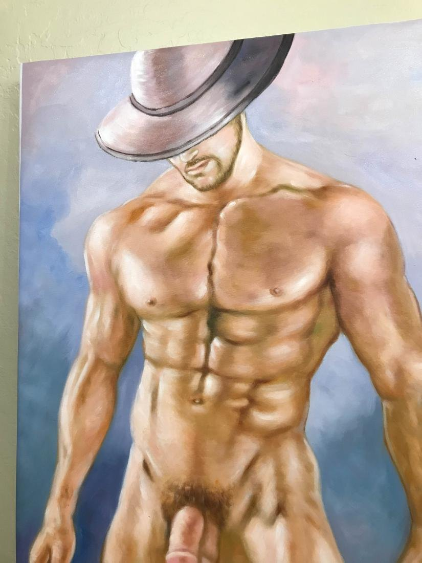 Oil on Canvas of Nude Man with Hat - 2