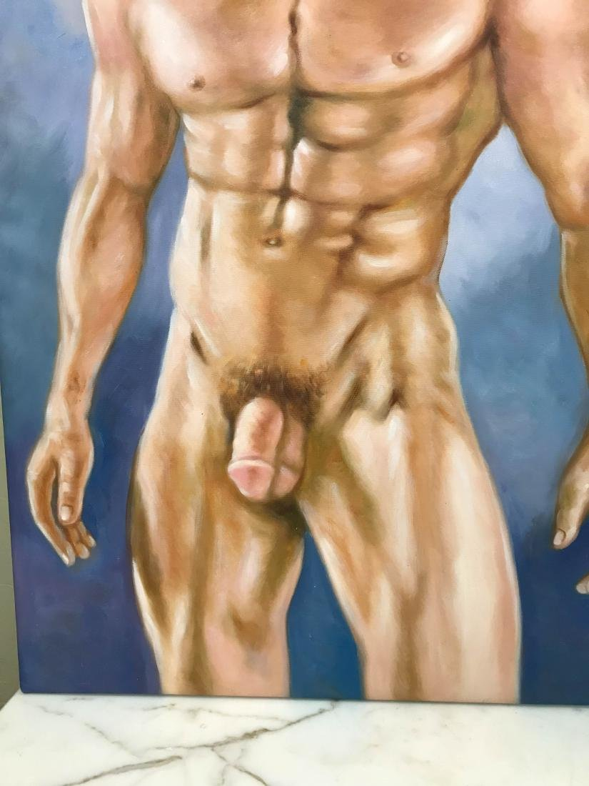 Oil on Canvas of Nude Man with Hat - 3