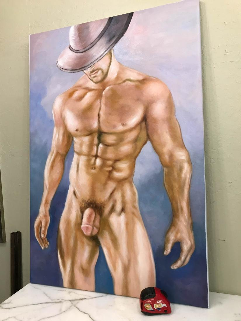 Oil on Canvas of Nude Man with Hat - 5