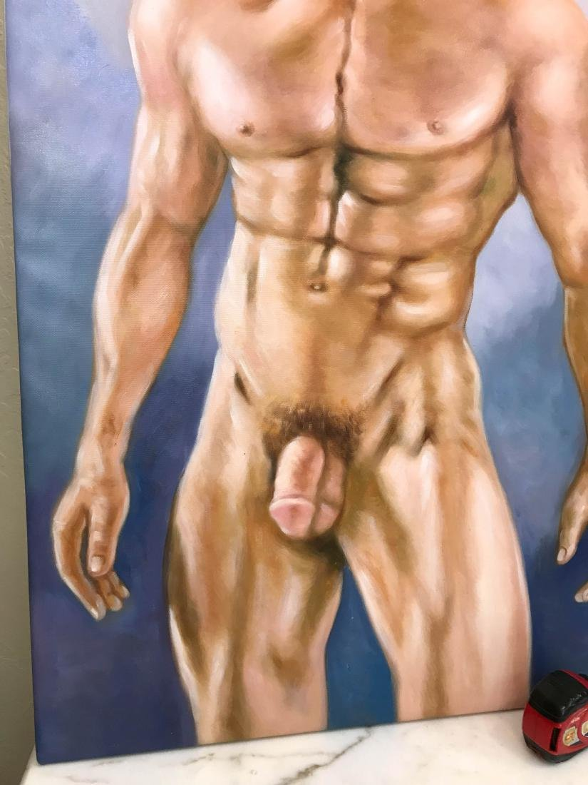 Oil on Canvas of Nude Man with Hat - 6