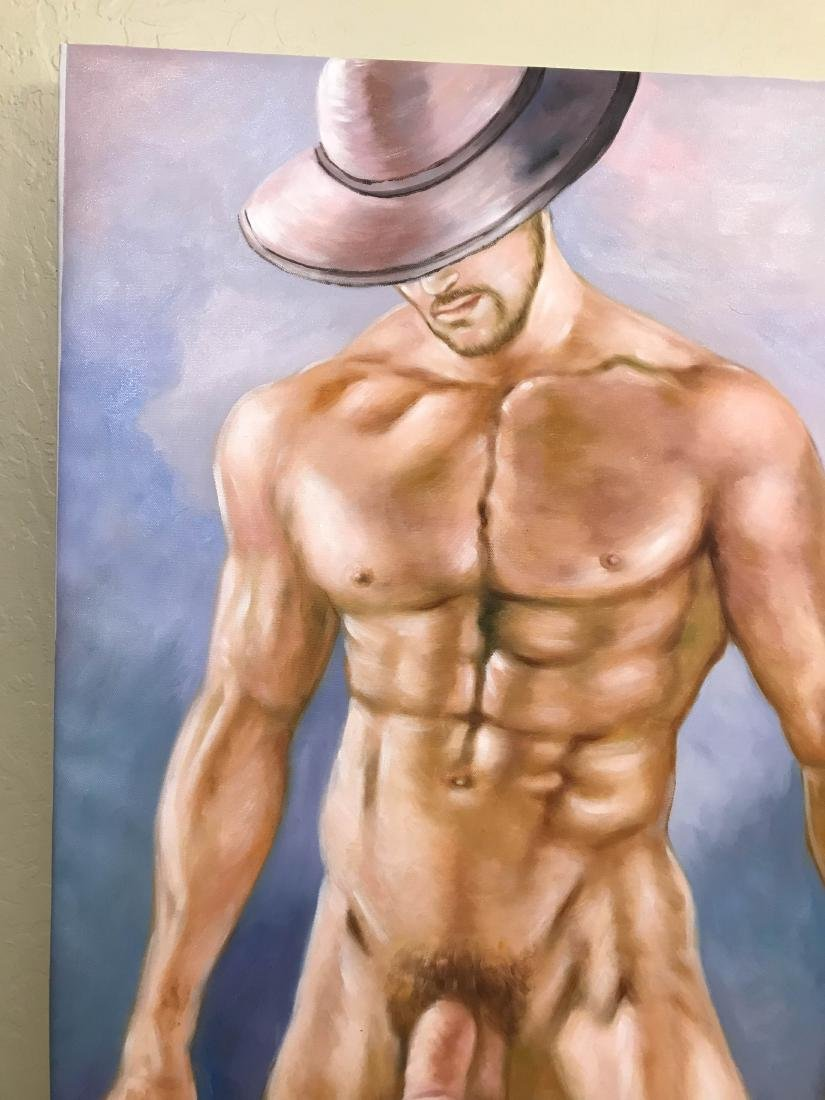 Oil on Canvas of Nude Man with Hat - 7