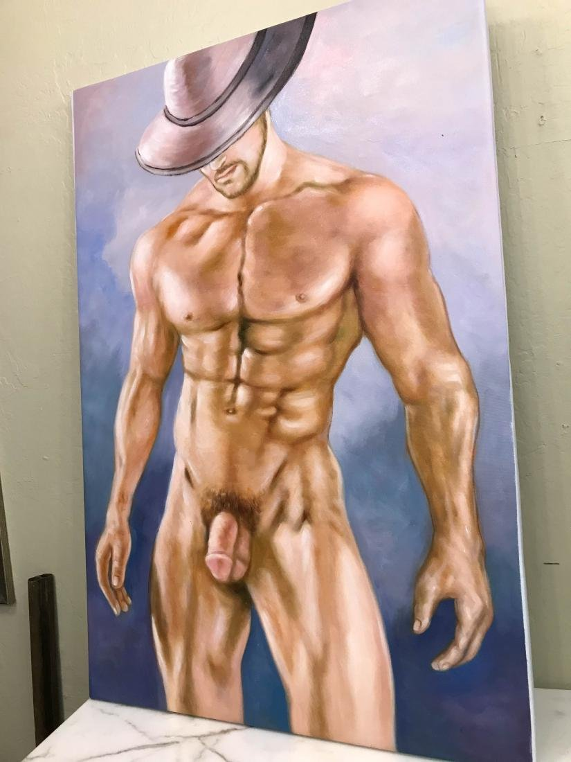 Oil on Canvas of Nude Man with Hat - 9
