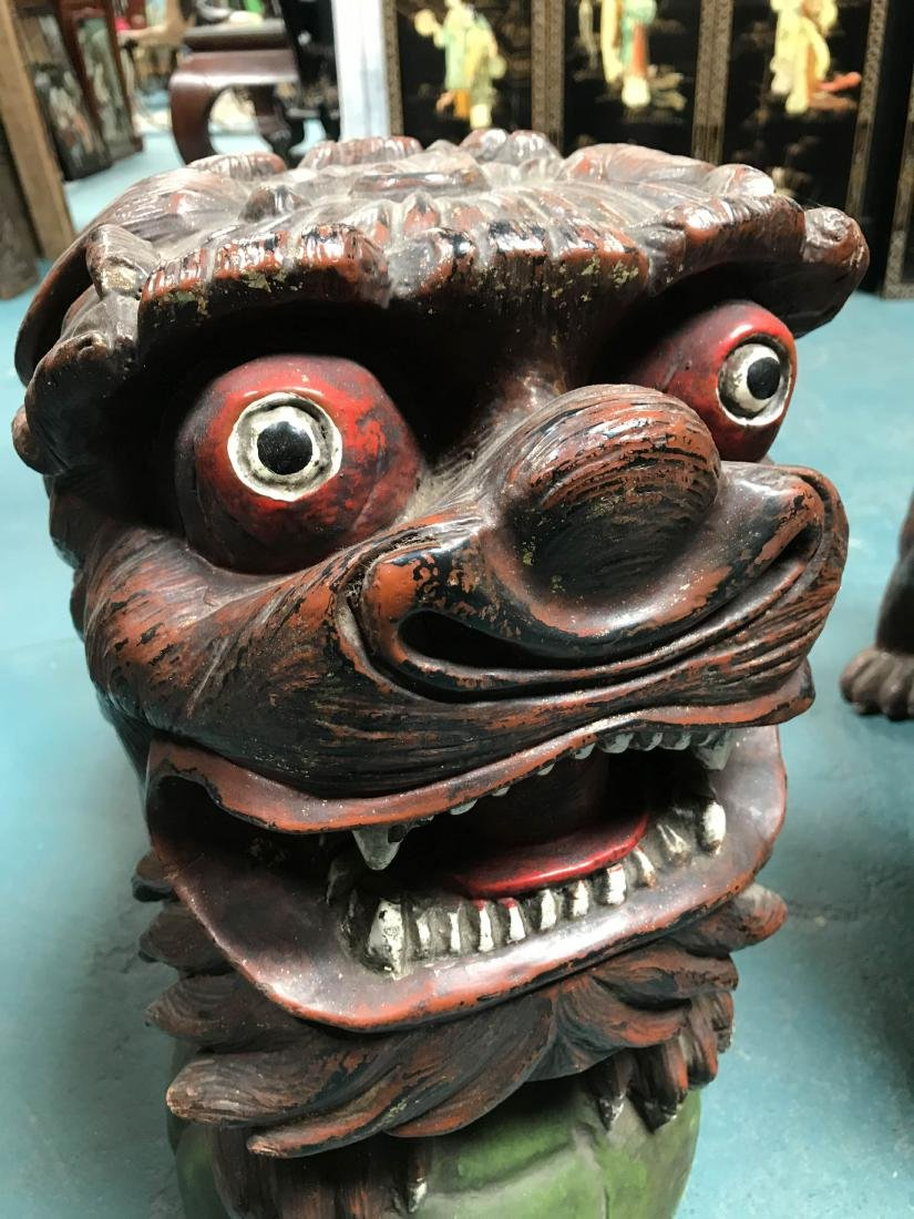 Antique Painted Carved Wood Pair of Foo Dogs - 10