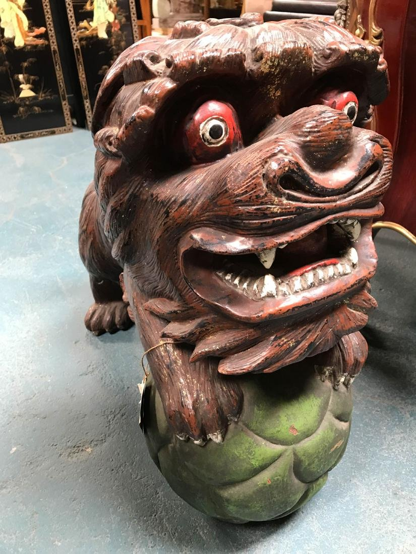 Antique Painted Carved Wood Pair of Foo Dogs - 2