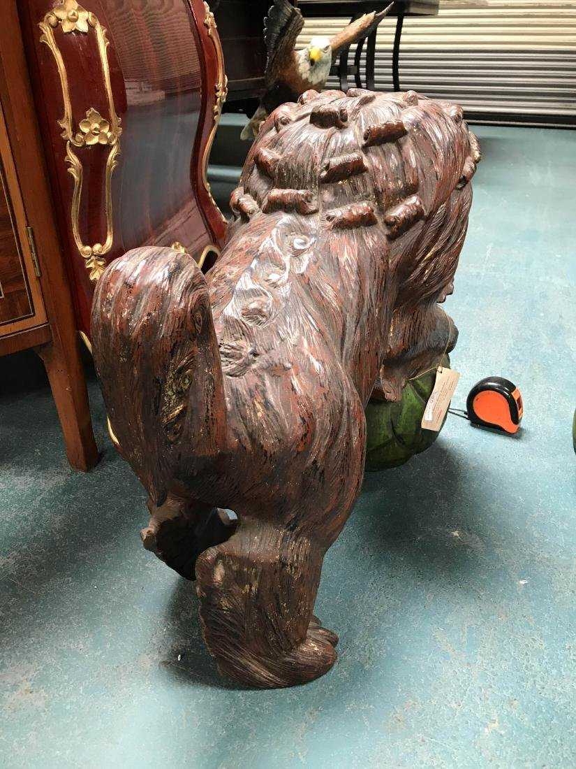 Antique Painted Carved Wood Pair of Foo Dogs - 6