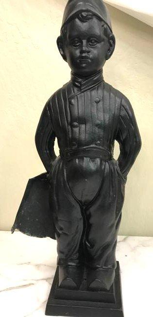 Unique Vintage Bronze Boy Fireplace Tool Holder