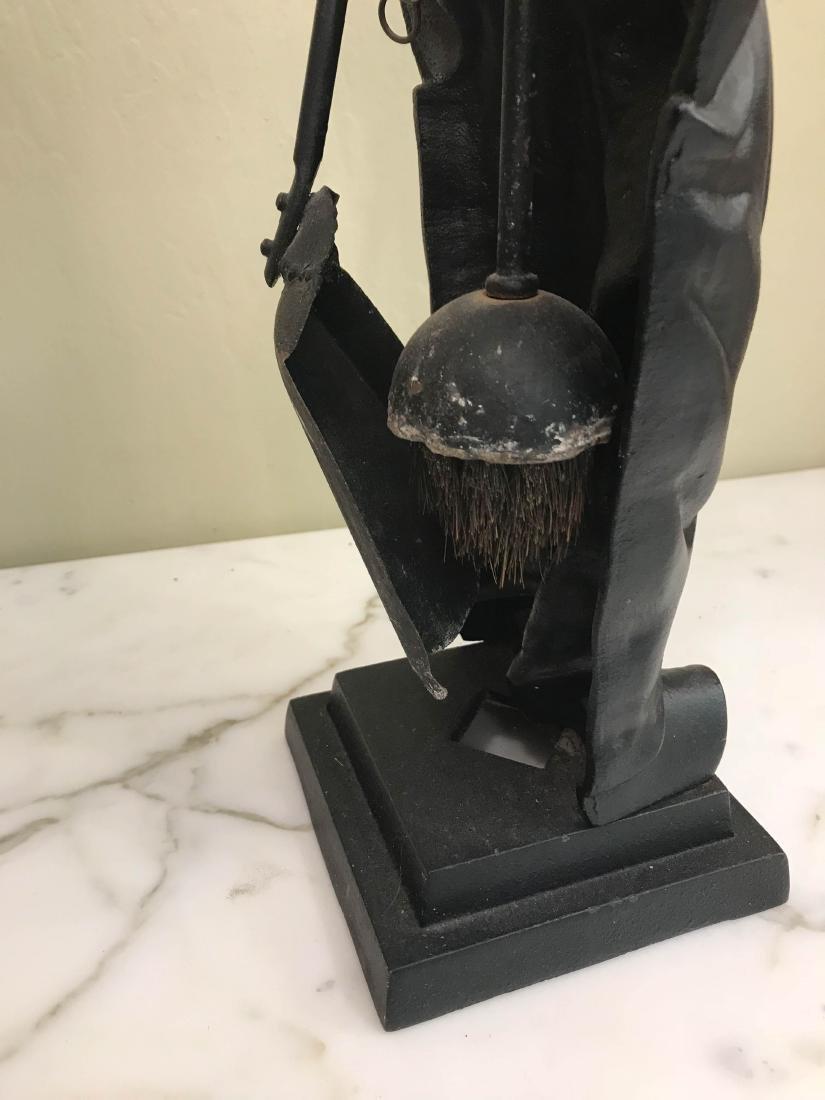Unique Vintage Bronze Boy Fireplace Tool Holder - 3