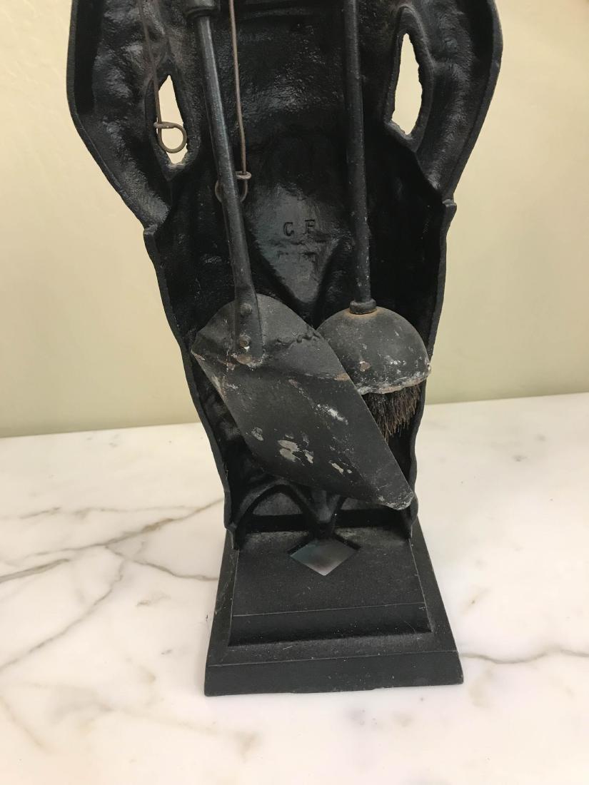 Unique Vintage Bronze Boy Fireplace Tool Holder - 5