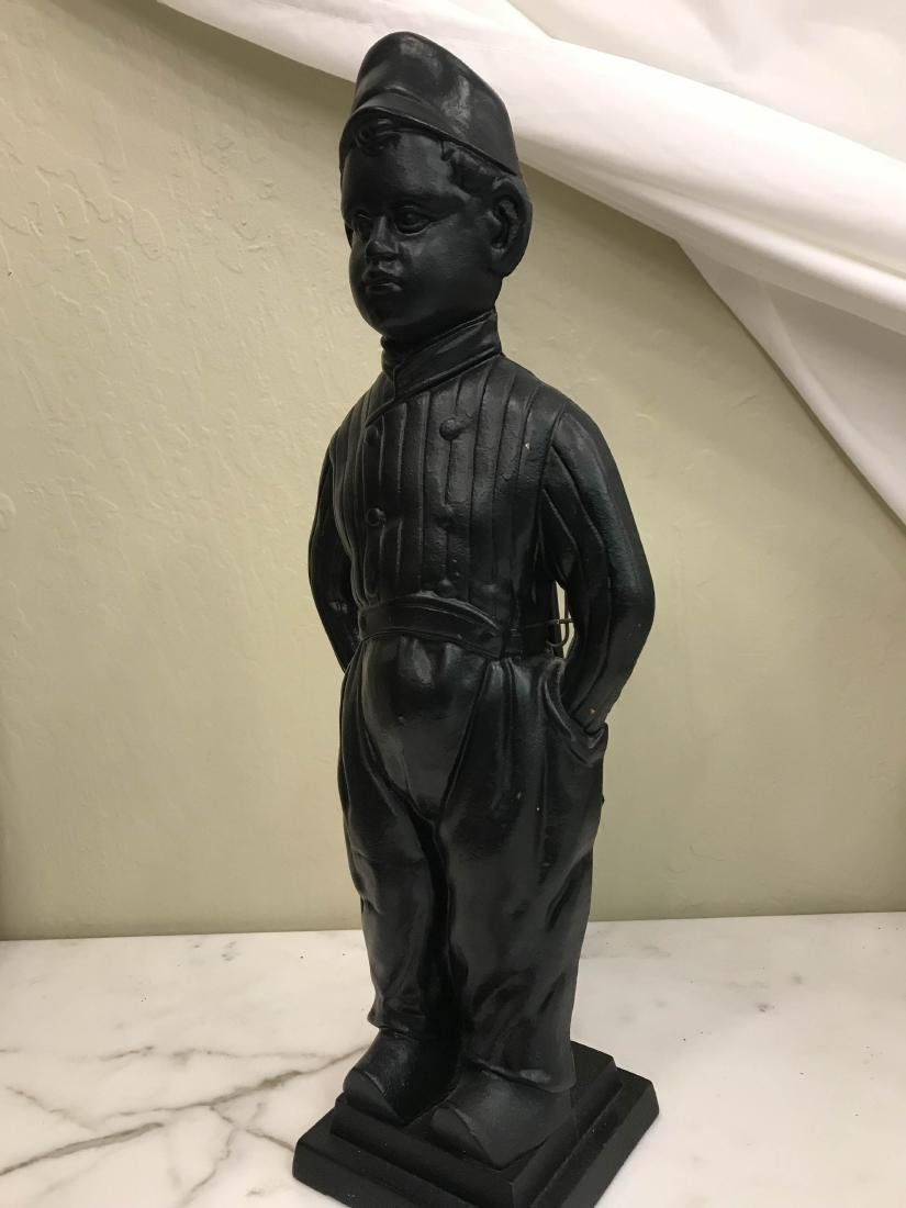 Unique Vintage Bronze Boy Fireplace Tool Holder - 6