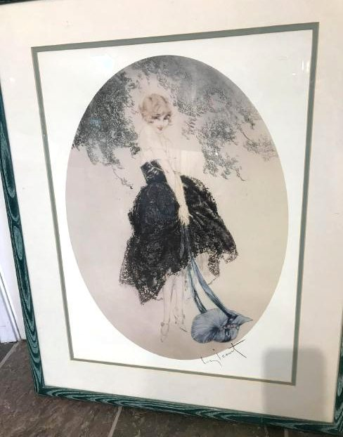 Art Deco Icart Print of Woman in Black Dress w/ Bonnet