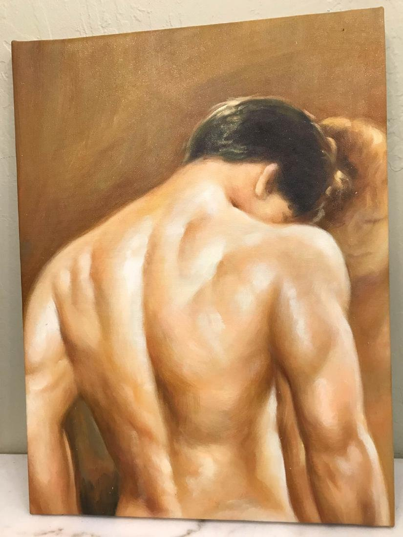 Oil on Canvas of Nude Man, Unframed