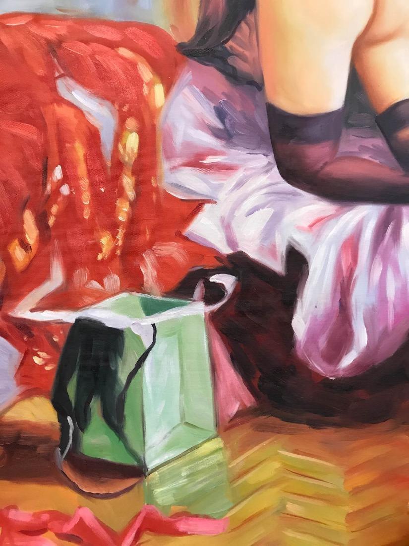 Oil on Canvas of Nude Woman Kneeling w/ Lingerie - 10