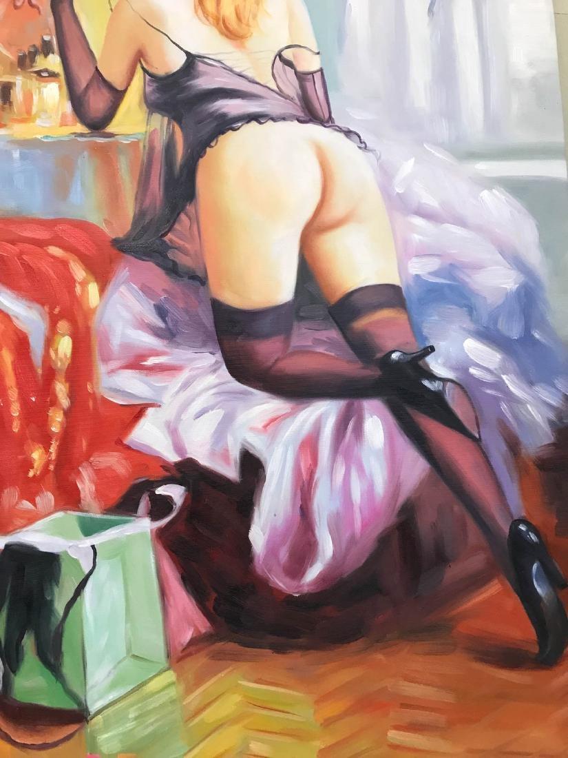 Oil on Canvas of Nude Woman Kneeling w/ Lingerie - 3