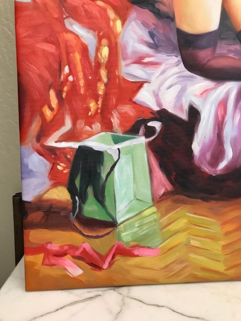 Oil on Canvas of Nude Woman Kneeling w/ Lingerie - 4