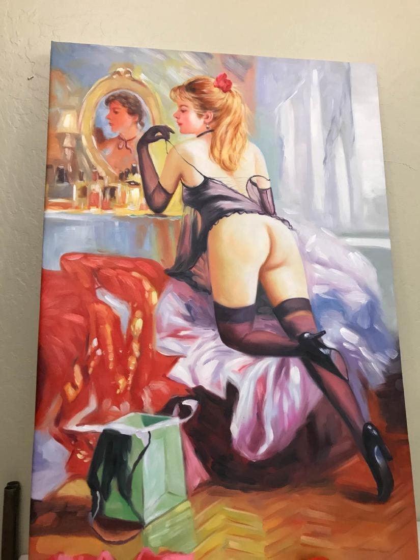 Oil on Canvas of Nude Woman Kneeling w/ Lingerie - 9