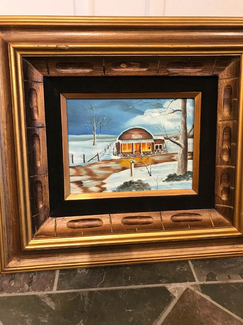 Oil on Canvas Painting of Diner in the Winter, Signed - 3