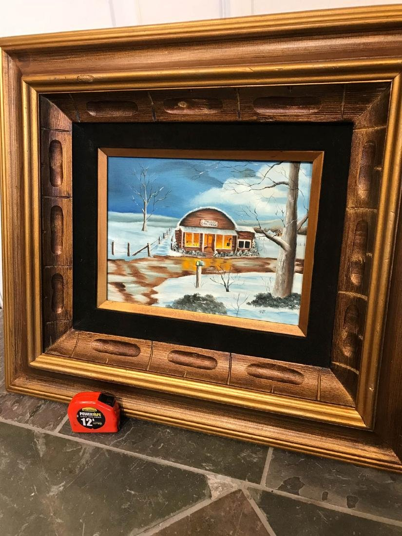 Oil on Canvas Painting of Diner in the Winter, Signed - 5