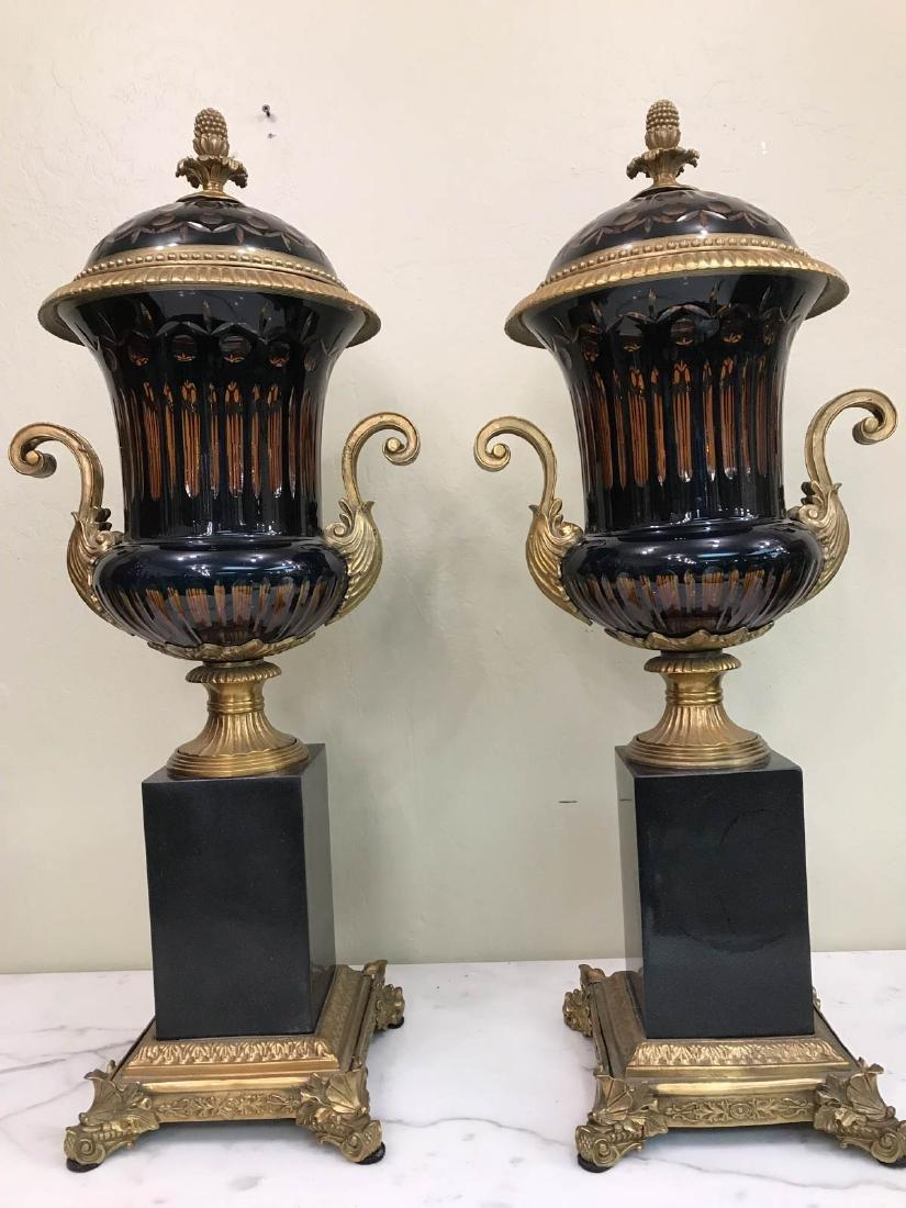 Pair of Hand-Cut Crystal, Bronze, Onyx Vases