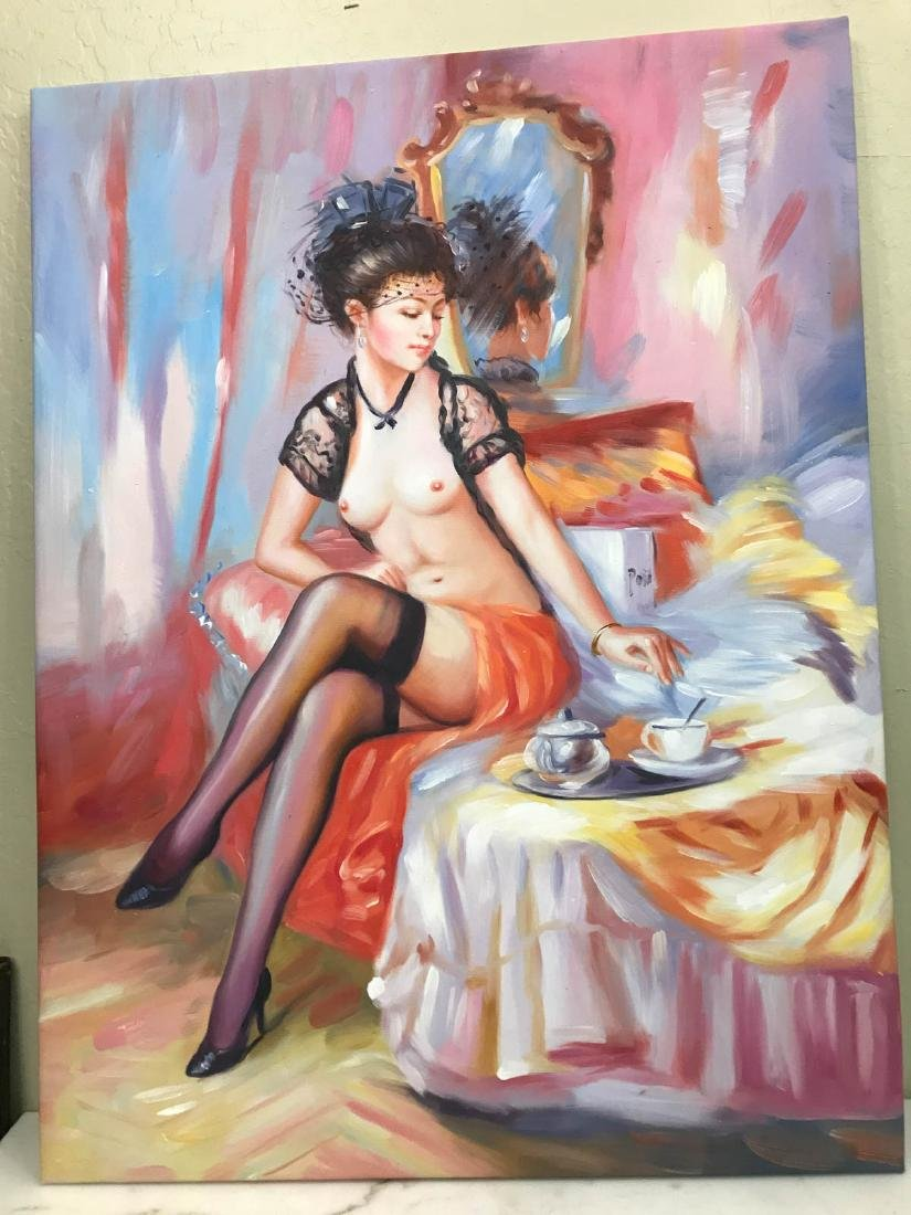 Oil on Canvas of Nude Woman on Bed w/ Tea