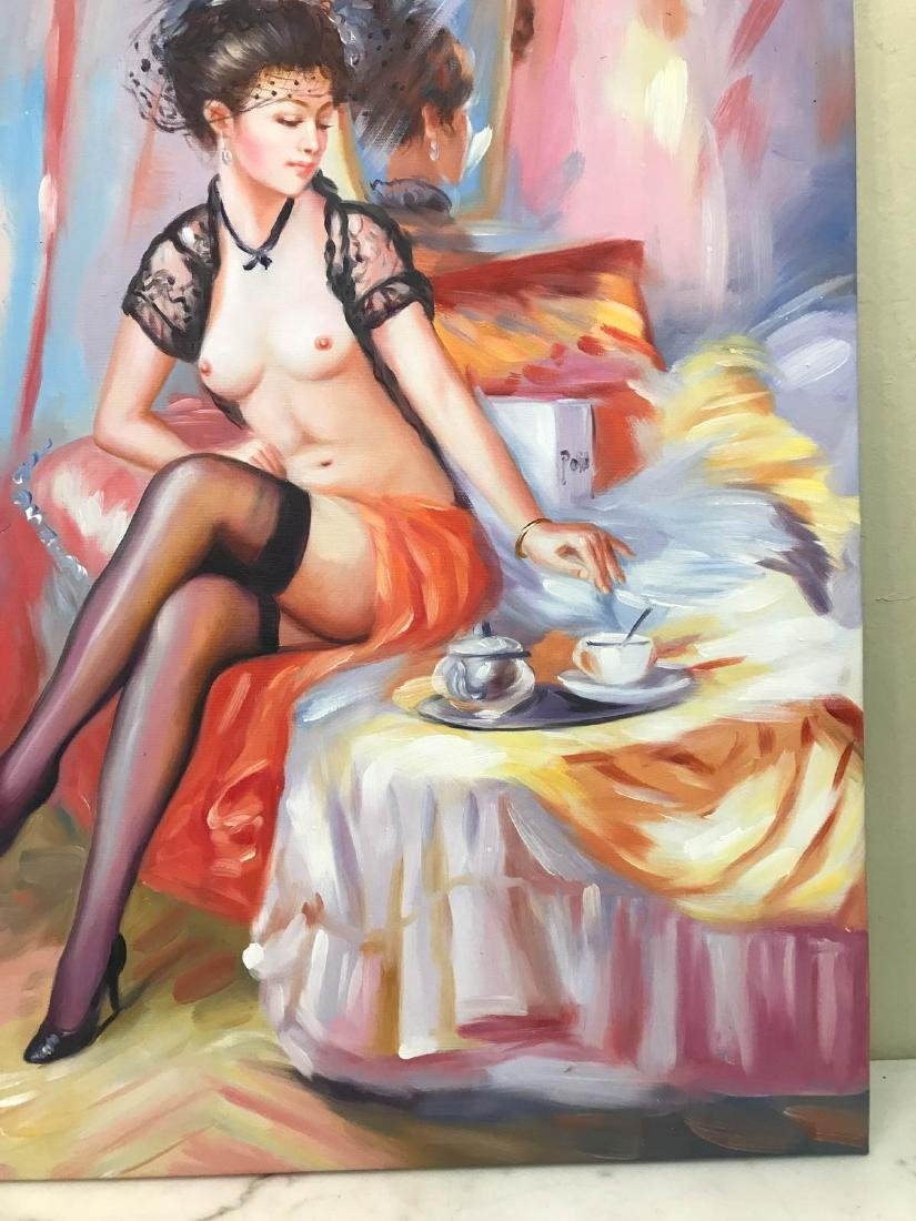 Oil on Canvas of Nude Woman on Bed w/ Tea - 3