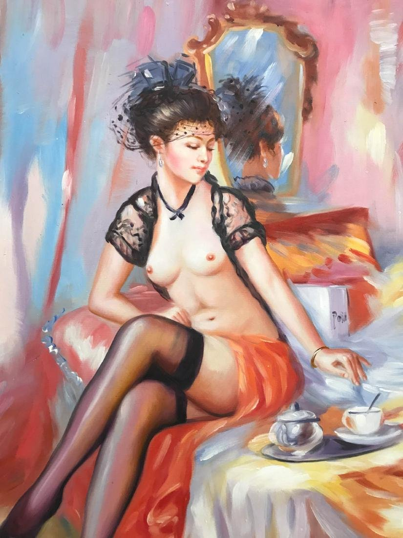 Oil on Canvas of Nude Woman on Bed w/ Tea - 5