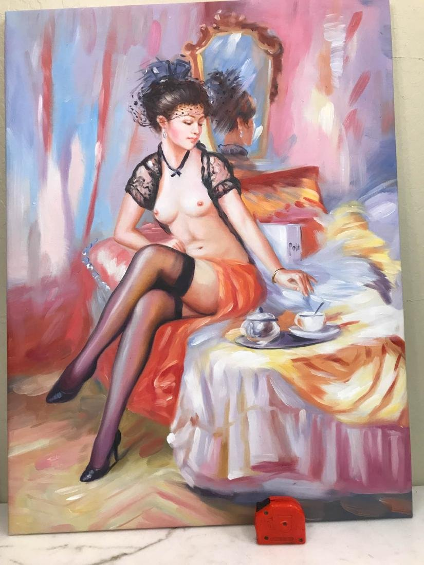 Oil on Canvas of Nude Woman on Bed w/ Tea - 8