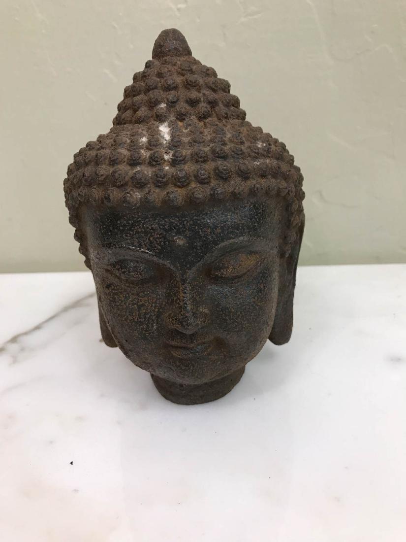 """Vintage Bronze Buddha Head Statue 6""""H"""